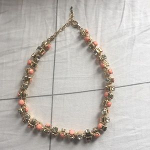 Jewelry - Pink bead and crystal statement necklace.